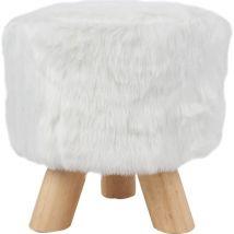 Sitzhocker Kunstfell Holzbeine weiss rund