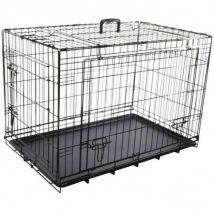 Cage noire métallique avec porte coulissante pour chien nyo xxl 77 x 124 x 81,5 cm