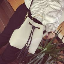 YT-0628 Women Tassel PU Leather Bucket Casual Shoulder Bag Crossbody Handbags