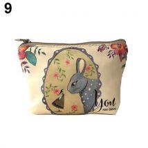 Cute Children Kids Animal Pattern Canvas Zipper Coin Purse Wallet Bag Gifts