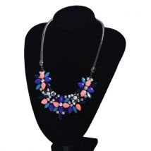 Retro Flowers Color Stone Crystal Stone Diamond Pendant Necklace PK