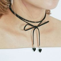Women Punk Heart Pendant Bow Rope Chain Necklace Collar Choker BK