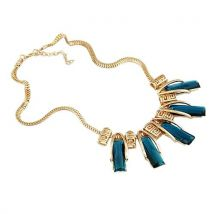 Crystal Clavicle Short Necklace Blue