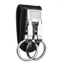 Genuine Leather Belt Buckle Clip 2 Loops Keychain Key Ring Holder