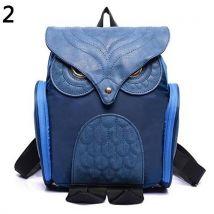 Womens Fashion Punk Zipper Bag Animal Owl Shape Backpack Bookbag School Bag-Blue