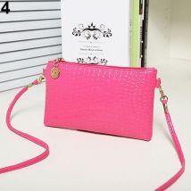 Women Shoulder Bags Messenger Bag PU Leather Crossbody Bags Satchel Handbag New-Rose-Red