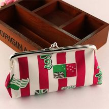 New Women Lady Lovely Style Wallet Hasp Stripe Purse Clutch Bag Red