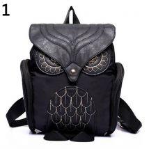 Womens Fashion Punk Zipper Bag Animal Owl Shape Backpack Bookbag School Bag-Black