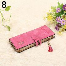 Womens Matte Faux Leather Hasp Tassel Zip Handbag Clutch Purse Card Wallet Bag-Rose Red