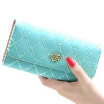 Women Quilted Crown Clutch Long Purse Faux Leather Wallet Card Holder Handbag-Light Blue