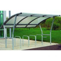 Single Side Cambridge Bike Shelter Extn Ragged / Galvanised Roof