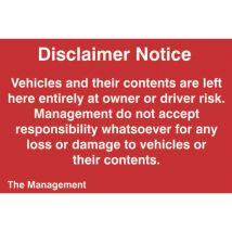 Disclaimer Notice Sign -Sign PVC (300 x 200mm)