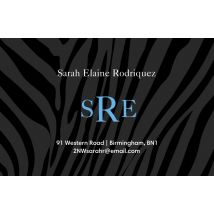 Zebra Monogram Business Cards, Set of 100, double-sided (uncoated), Card & Stationery square Blue