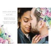 "Pretty Protea Save the Date 8x6"" (20x15cm) Flat Card set of 20 (gloss cardstock), Card & Stationery square White"
