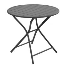 Table de jardin pliante ronde en aluminium gris 3 personnes - Globe