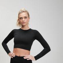 Crop top sans couture MP Shape pour femmes–Noir - M