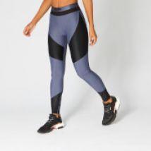 Metallic Panelled Leggings — Navy - L
