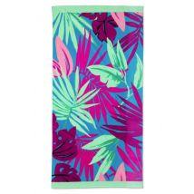 Print Velours-Strandtuch, Herren, Größe: Einheitsgröße Erwachsener, Blau, Baumwolle, by Lands' End, Malibu Blau Tropical Palme