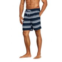 Lands' End Men's 8-inch Patterned Swim Shorts - 28-30, Blue