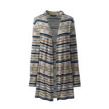 Jersey Long Cardigan, Women, Size: 8 Regular, Ivory, Rayon-blend, by Lands'End, Swiss Milk Southwest Stripe