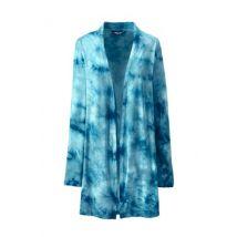 Jersey Long Cardigan, Women, Size: 20 Regular, Blue, Rayon-blend, by Lands'End, Paradise Teal Tie Dye