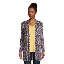 Jersey Long Cardigan, Women, Size: 20 Regular, Blue, Rayon-blend, by Lands'End, Deep Sea Navy Floral