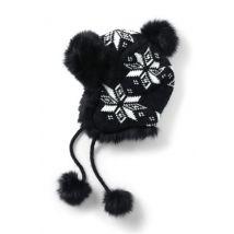 Lands' End Women's Fairisle Peruvian Bobble Hat, Black