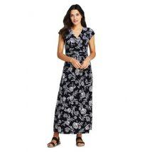 Lands' End Women's Petite Cotton-modal Jersey Twist Wrap Maxi Dress, Print - 14-16, Black