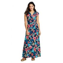 Lands' End Women's Petite Cotton-modal Jersey Twist Wrap Maxi Dress, Print - 8, Blue