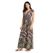 Lands' End Women's Petite Cotton-modal Jersey Twist Wrap Maxi Dress, Print - 8, Pink