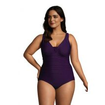 Grecian V-neck Slender Swimsuit, Women, Size: 20 Plus, Purple, Spandex, by Lands' End