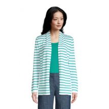 Fine Gauge Cotton Long Open Cardigan, Stripe, Women, Size: 14-16 Regular, Green, by Lands'End, Aqua Green Stripe