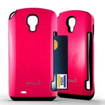 Coque Hybride Samsung Galaxy S4 porte carte - Rose - Etui pour téléphone mobile