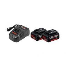 Kit 2 Batteries Li-ion 5,0 Ah Gba 18v + Chargeur Rapide Gal 1880 Cv Professionnal