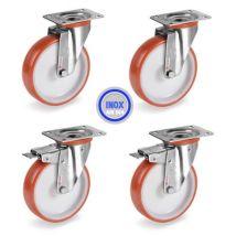Lot roulettes INOX pivotantes et pivotantes à frein polyuréthane rouge 100 mm - 510Kg - Manutention transports