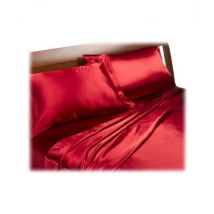 rouge satin Double Housse de couette, drap housse et 4 couettes Ensemble de literie - Couvertures - Edredons - Couettes