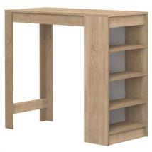 Table de bar avec 4 étagères L115xl50xH102cm ARAVIS chêne - Tables salle à manger