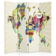 Feeby Paravent rotatif Cloison de séparation intérieur 4 panneaux, Carte du monde pop-art 145x150 cm - Objet à poser