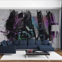 Papier peint - Art urbain : Grande ville moderne - Décoration, image, art   Street art   - Décoration des murs