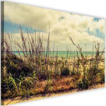 Tableau moderne Art Image imprimée sur toile Canevas Herbes Vue Mer Azure 90x60 - Décoration murale