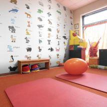 Papier peint - Learning by playing (animals) - Décoration, image, art | Pour enfants | - Décoration des murs