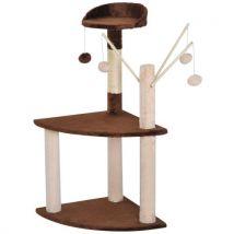 Arbre à chats avec griffoir-grattoir sisal naturel plate-formes jeu de 4 boules suspendues 45L x 45l x 95H cm marron beige - Paniers et mobilier pour
