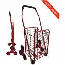 Chariot de courses en métal 8 roues - Pliable - Capacité 43L - Rouge - couleuretnombrederoues : Rouge - 8 roues - Chariots de courses