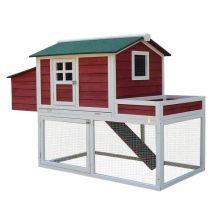 Poulailler cottage cage à poules surélevé dim. 160L x 80l x 110H cm multi-équipement bois massif de pin bordeaux blanc - Volailles