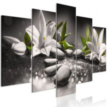 Tableau - Lilies and Stones (5 Parts) Wide Grey .Taille : 100x50 - Décoration murale