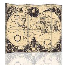 Feeby Cloison amovible Paravent intérieur, deux faces 5 panneaux, Carte du monde vintage 180x150 cm - Objet à poser