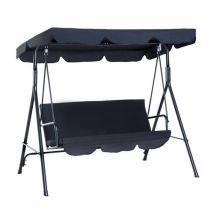 Balancelle de jardin 3 places toit imperméabilisé inclinaison réglable coussins assise et dossier 1,72L x 1,1l x 1,52H m acier noir polyester noire -