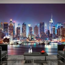 Papier peint - Night in New York City .Taille : 250x175 - Décoration des murs