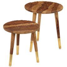 Vidaxl Tables Basses 2 Pcs Bois Solide De Sesham