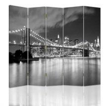 Feeby Paravent Impression toile Déco 5 parties deux faces, Brooklyn Bridge la nuit 180x180 cm - Objet à poser